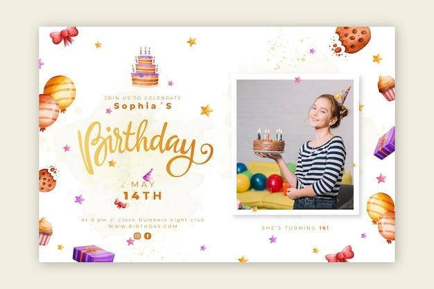 Bannière d'anniversaire avec gâteau