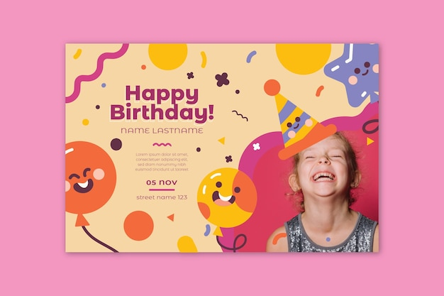 Bannière D'anniversaire Pour Enfants Vecteur Premium