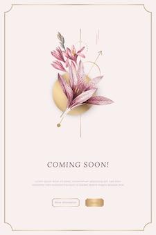 Bannière d'annonce florale rose à venir