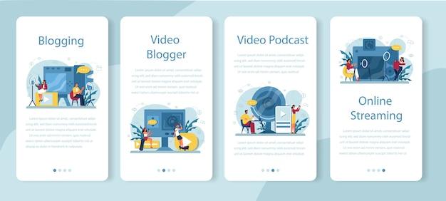 Bannière d'application mobile blogueur vidéo, blogging et podcasting