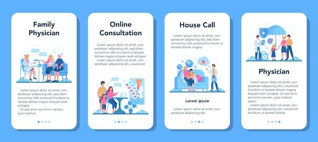 Bannière d'application mobile de médecin de famille et de soins de santé généraux