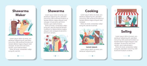 La bannière d'application mobile de nourriture de rue de shawarma a placé le chef cuisinant délicieux