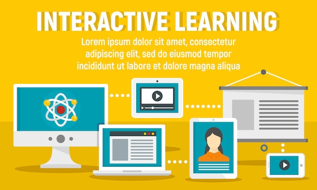 Bannière d'apprentissage interactive moderne, style plat
