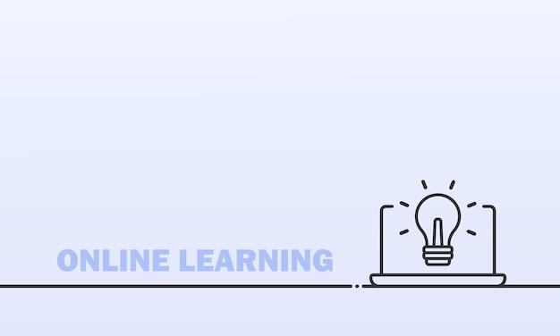 Bannière d'apprentissage en ligne. enseignement à distance depuis la maison. cours, webinaire, vidéo
