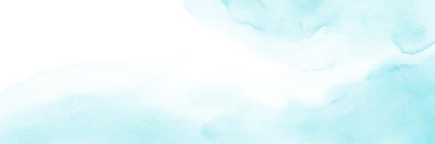 Bannière aquarelle abstraite bleu clair.