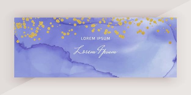 Bannière aquarelle d'encre alcool avec des confettis de paillettes d'or
