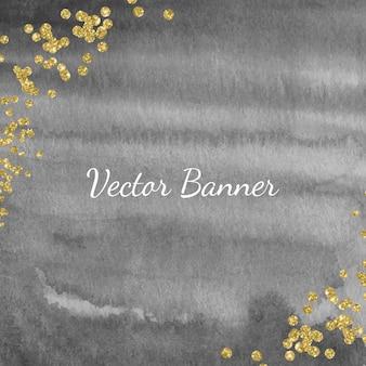 Bannière aquarelle noire avec des confettis de paillettes dorées