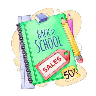 Bannière aquarelle de retour aux ventes de l'école