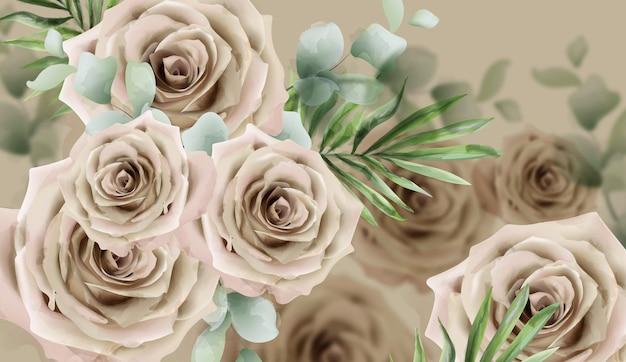Bannière aquarelle de roses