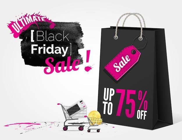 Bannière aquarelle vector black friday avec des éclaboussures d'encre et un sac shopping et un chariot