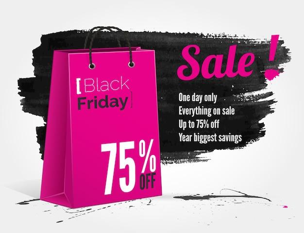 Bannière aquarelle vector black friday avec éclaboussures d'encre et sac shopping