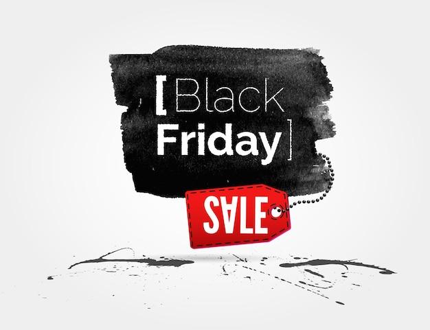 Bannière aquarelle vector black friday avec éclaboussures d'encre et tag shopping