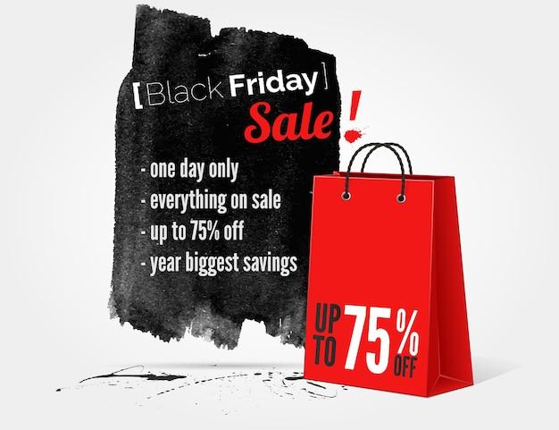 Bannière aquarelle vendredi noir avec des éclaboussures d'encre et sac de shopping