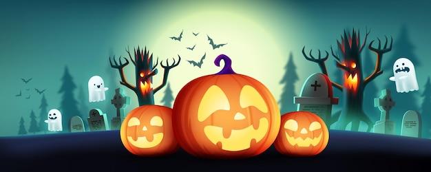 Bannière ou arrière-plan horizontal halloween fullmoon avec des citrouilles d'halloween et un fantôme mignon