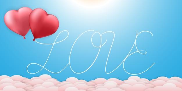 Bannière d'arrière-plans texte saint valentin amour