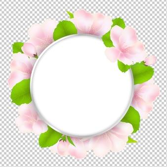 Bannière arrondie de fleurs de pommier