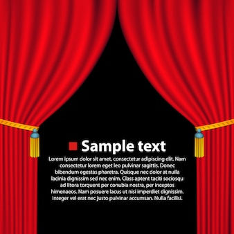 Bannière d'art de fond de rideau de théâtre. illustration vectorielle