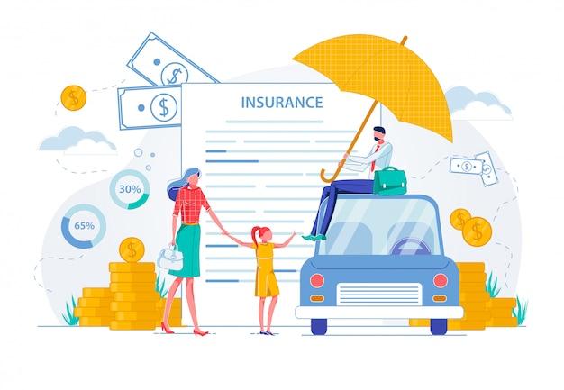 Bannière d'assurance familiale de contrat de véhicule privé.
