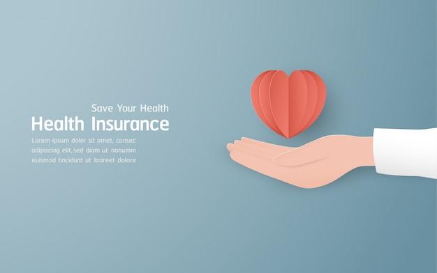 Bannière d'assurance maladie sur bleu pastel