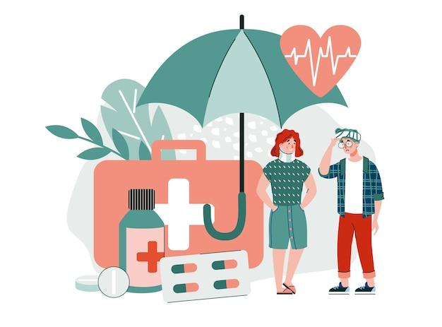 Bannière d'assurance maladie avec des personnes souffrant de traumatismes et de douleurs