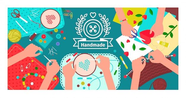 Bannière d'atelier créatif à la main