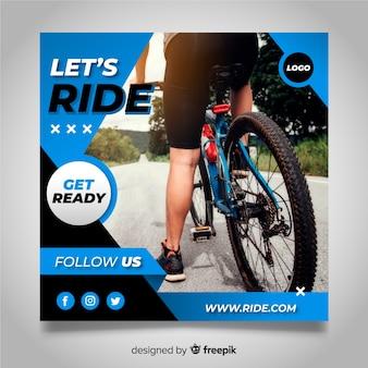 Bannière d'athlète cycliste avec photo