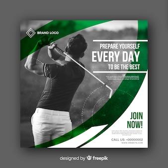 Bannière d'athlète de golf avec photo