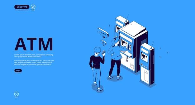 Bannière atm. guichet automatique, terminal pour retirer de l'argent comptant, transactions et paiements.