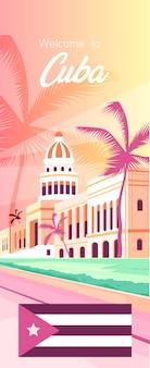 Bannière des attractions touristiques célèbres de cuba dans un style plat