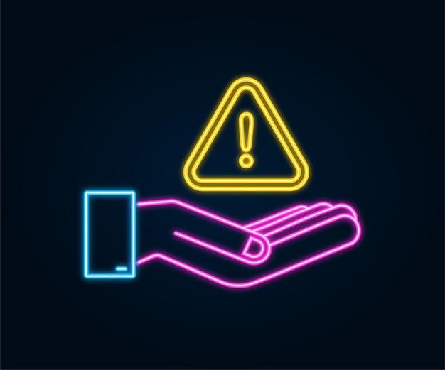 Bannière au néon avec alerte d'arnaque jaune sur les mains signe d'attention icône de cybersécurité