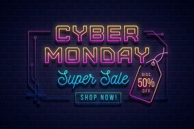 Bannière au néon cyber lundi