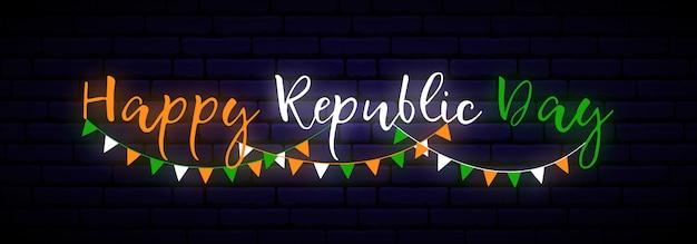 Bannière au néon heureux jour de la république de l'inde.