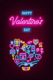Bannière au néon de la saint-valentin, flyer, affiche, carte de voeux. enseignes au néon saint valentin sur fond de mur de brique. illustration vectorielle