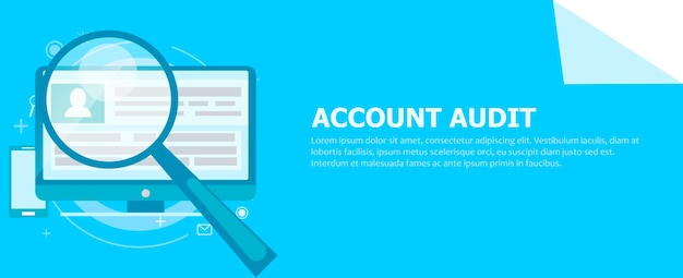 Bannière d'audit de compte. un ordinateur avec une loupe pointée dessus.