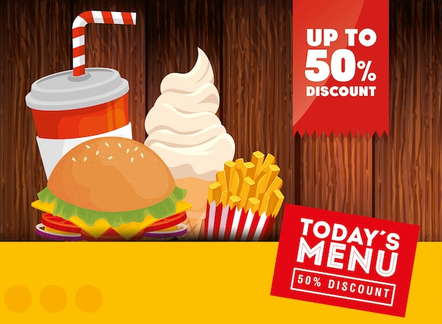 Bannière d'aujourd'hui menu fast food cinquante rabais