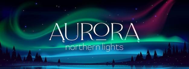 Bannière d'aurore boréale, aurores boréales dans le ciel nocturne arctique avec des étoiles