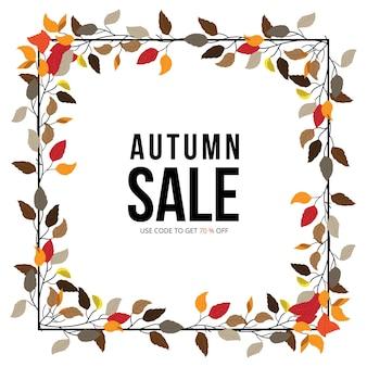 Bannière d'automne, bannière de vente et de remise, élément d'automne et modèle web.