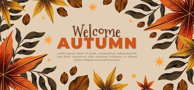 Bannière automne horizontale aquarelle