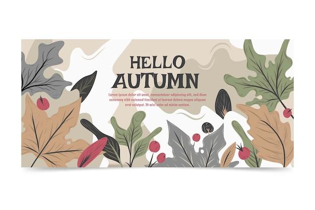 Bannière automne horizontale dessinée à la main