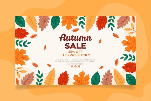 Bannière automne horizontale plate dessinée à la main