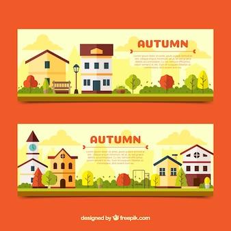 Bannière d'automne avec des maisons