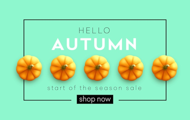 Bannière d'automne moderne à la mode avec citrouille d'automne lumineuse