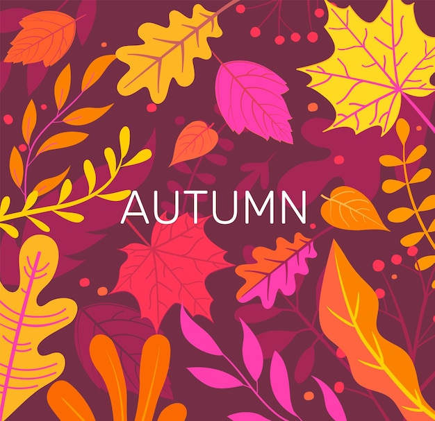 Bannière d'automne pleine de feuilles d'automne colorées.