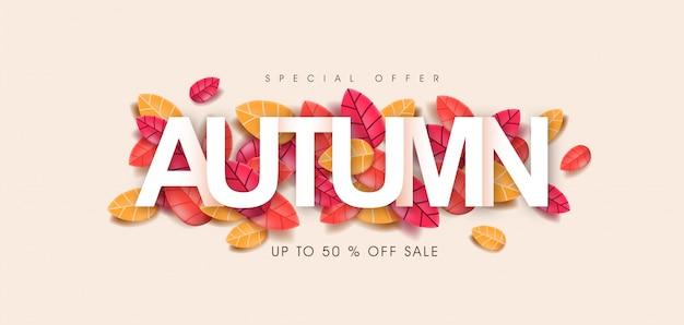 Bannière d'automne avec texte sur les feuilles