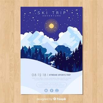 Bannière d'aventure de voyage de ski