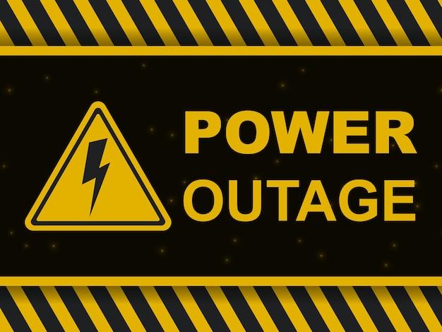 Bannière d'avertissement de panne de courant