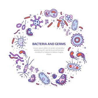 Bannière de bactéries ronde