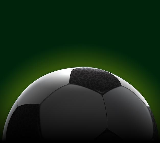 Bannière de ballon de football réaliste et détaillée. balle recadrée.