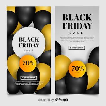 Bannière de ballons noirs vendredi doré