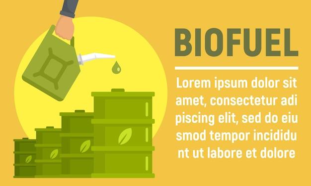 Bannière de baril de biocarburant, style plat